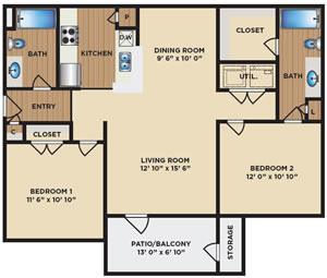 Two Bedroom / Two Bath - 1,000 Sq. Ft.*
