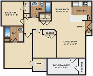 Three Bedroom / Two Bath - 1,100 Sq. Ft.*